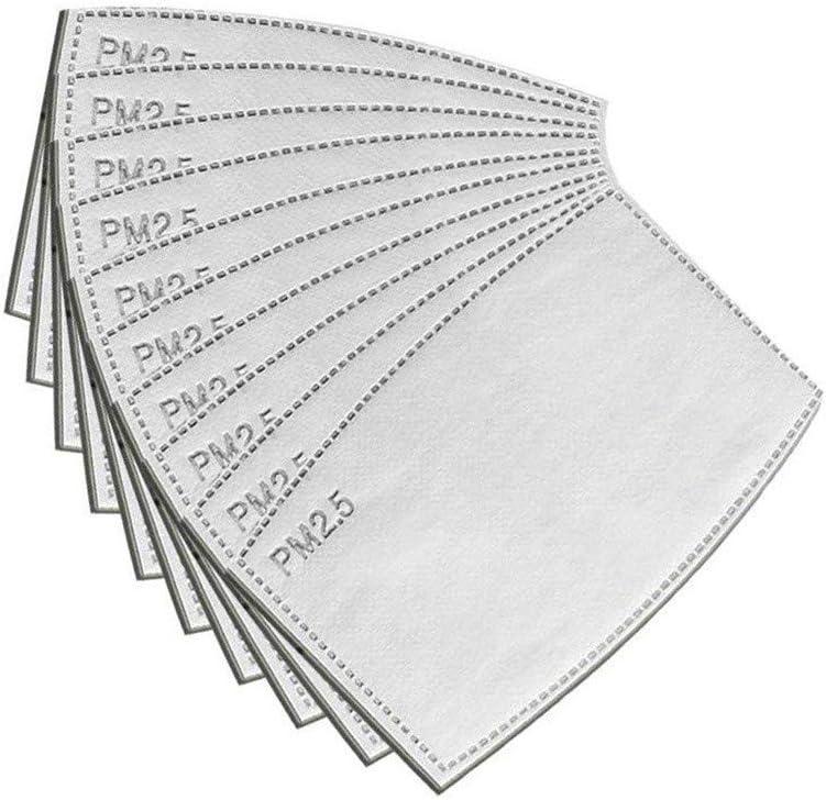 100PC PM2.5 Filtro de carbón Activado Filtro de almohadilla activada filtros de respiración de carbono antiniebla Adulto 12x8cm filtro de carbón activado protector de 5 capas reemplazable
