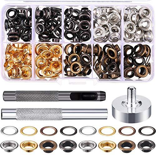 Lot de 200 rivets creux en métal avec rivets ronds 1/4 inch,capuchon individuel Tubular Rivets avec fixation Kit pour chaussures, vêtements, bricolage (200 pièces de 4 couleurs)