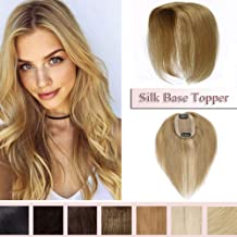 100% Real Human Hair Silk Base Top Hairpiece Clip in Hair Topper for Women Crown in Hand-made Toppee Middle Part with Thinning Hair Loss Hair #27 Dark Blonde 12''20g