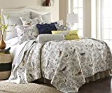 Levtex Home - Mockingbird Quilt Set - King Quilt + Two King Pillow Shams - Grey Toile with Birds and Butterflies - Quilt Size (106 x 92) and Pillow Sham Size (36 x 20) - Reversible Pattern - Cotton
