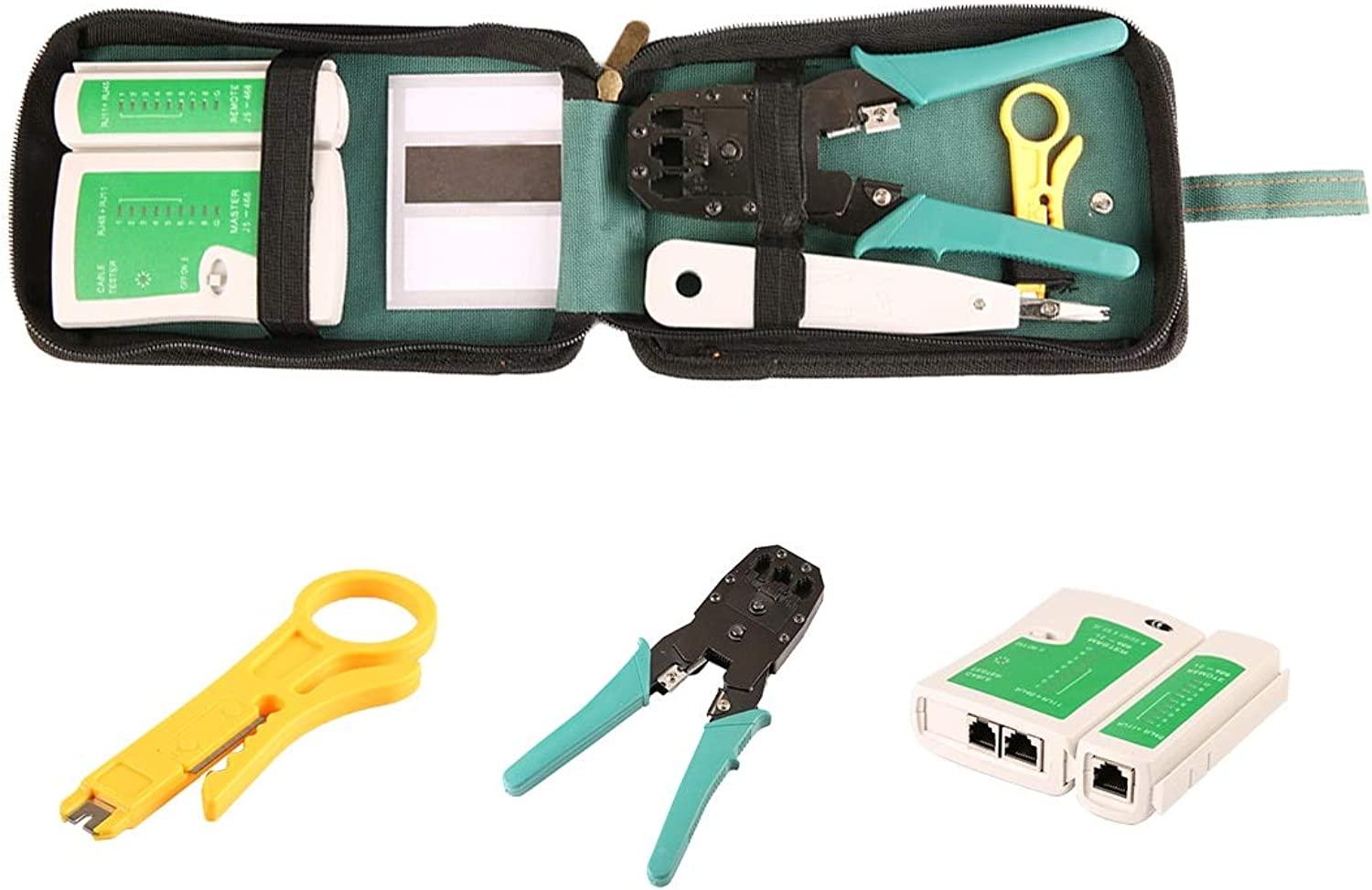BeediY Professional Network Cable Tester LAN rj45 rj11 with Wire Cable Crimper Crimp PC Network Hand Tools Herramientas
