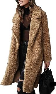 Macondoo Women Fashion Sherpa Fuzzy Lapel Outwear Open Front Jacket