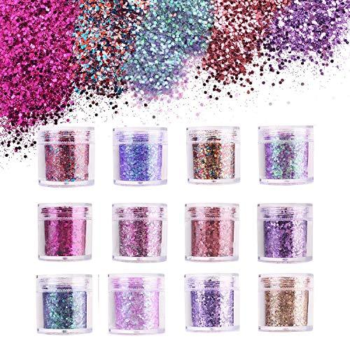 Ulikey 12 Boxen Glitzer für Gesicht Körper Glitzer, Glitzer Sequin, Glitter Nagel, Glitterpulver, Make Up Glitter für Gesicht Nägel Augen Lippen Haare Körper - Partys und Karneval - 20g