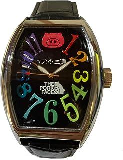 フランク三浦×THE PORK FACE 腕時計 コラボ メンズ 革ベルト ダブルネーム ブラック