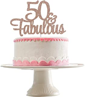 Rose Gold Glittery 50 & Fabulous Cake Topper for 50th Birthday Party Decorations,Birthday Cake Topper Decor