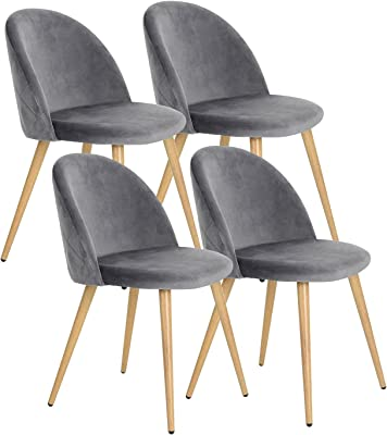ARWQ857 Velvet Living Room Chairs Modern Dining Chair Set of 4 with Wooden Style Sturdy Metal Legs Kitchen Chairs for Home Commercial Restaurants (Color : Grey)