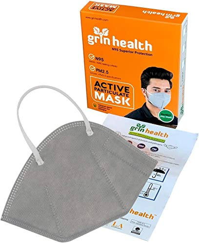 Grin Health N95 Anti Pollution Mask with Protective Filters Lightweight Reusable Pack of 1 Grey