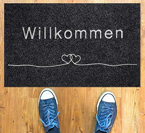 Majo Lifestyle Fussmatte - Premium robuste Anti-rutsch Fußmatte für außen/innen - 40x60 cm - weiche Schuhmatte - Grau - Polyester Schmutzfangmatte - Fussmatten Haustür - Geschenk (Grau)