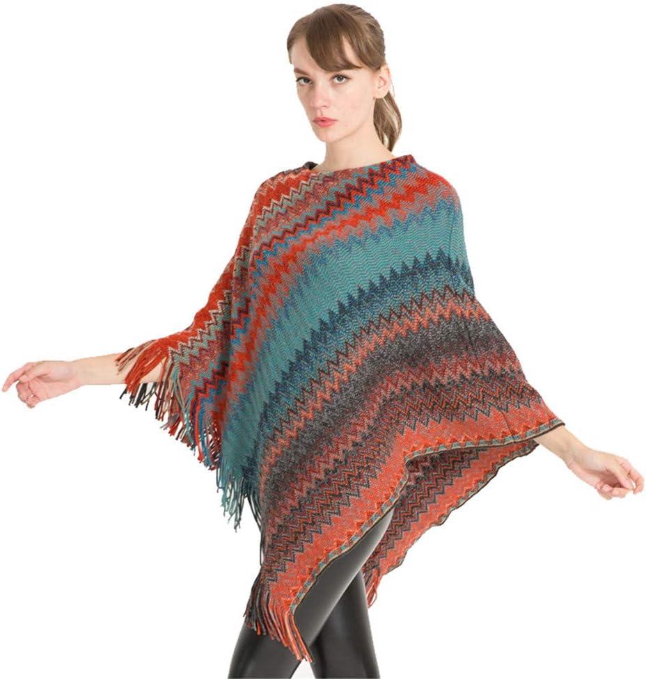 Teerwere Fall 70% OFF Outlet Warm Scarf Ladies Cloak Womens Poncho Seasonal Wrap Introduction Tassel Knit