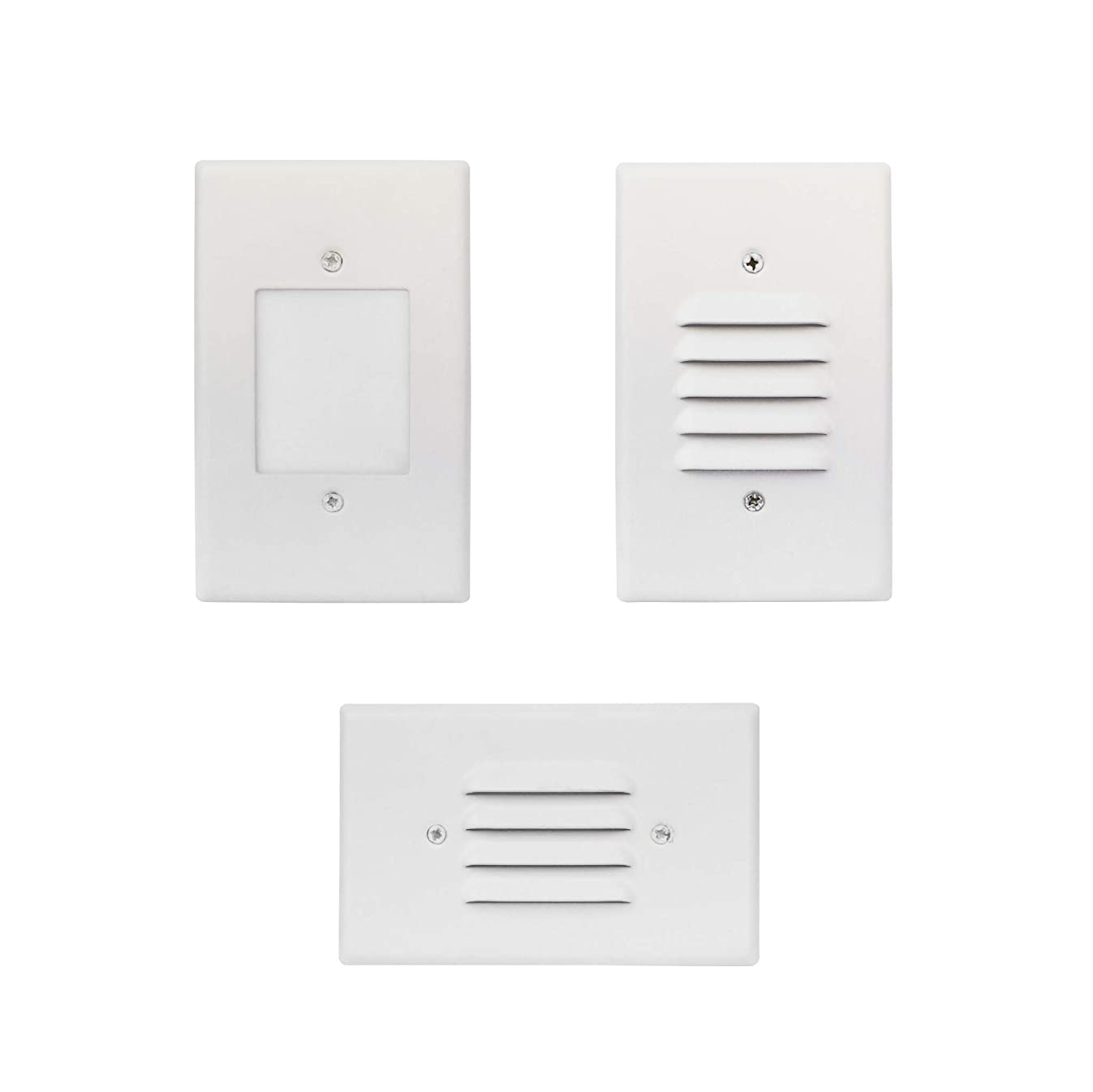 LED 2W Step Light White Finish (4 Pack) Interchangeable Plate Flat Frosted (Horizontal Louver/Vertical Louver) 10 YR Warranty; Waterproof; Dimmable; 120V; 150 Lumnes (Warm White 3000K)