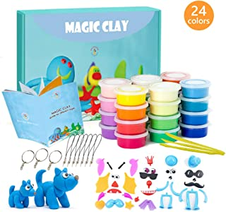 Modeling Clay Kit - 24 Colors Air Dry Ultra Light Magic Clay, Soft & Stretchy DIY Molding Clay with Tools, Animal Accessories, Easy Storage Box Kids Art Crafts Gift for Boys & Girls Age 3-12 year old