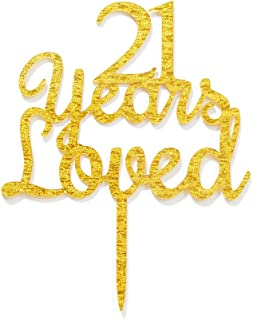 Qttier 21 Years Loved Cake Topper Happy 21st Birthday Anniversar Party Decoration Premium Quality Acrylic Gold