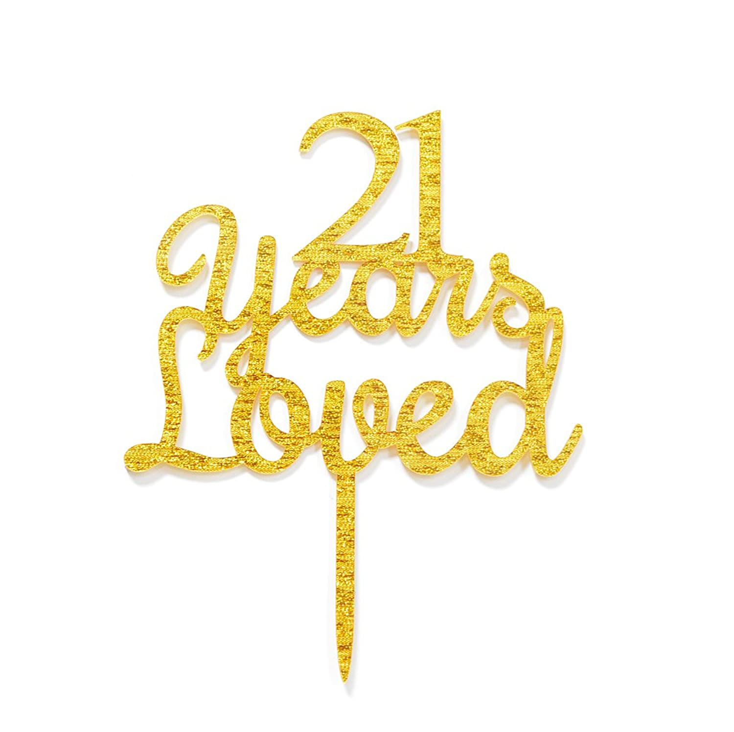Qttier 21 Years Loved Cake Topper Happy 21st Birthday Anniversar Party Decoration Premium Quality Acrylic Gold jhqnnu4070017