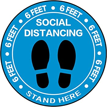 """5 Decals of Each Design Social Distancing Floor Decal Set 20 Pack Commercial Anti-Slip 4/""""x12 Floor Graphic Blue   Maintain 6 Foot Distance Floor Sticker Set   Safety Floor Sign Markers"""