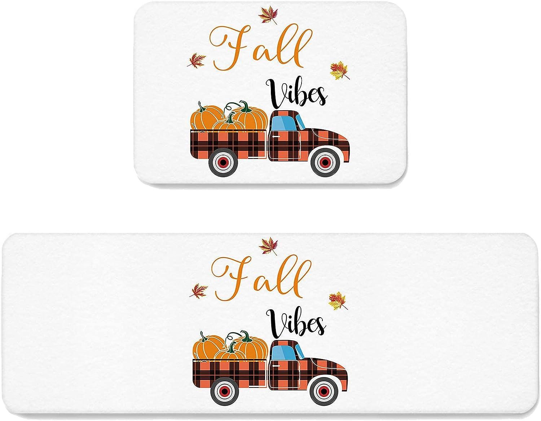 SUN-Shine mart Fall Thanksgiving Farm 4 years warranty Truck KitchenRugSet2Pieces