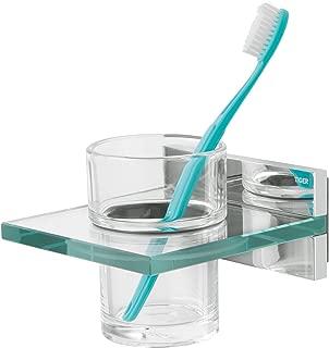 Montaje en Pared 7 x 10.1 x 9.7 cm Tiger Ontario Vaso para Cepillo de Dientes Metal Cromo Vidrio Mate