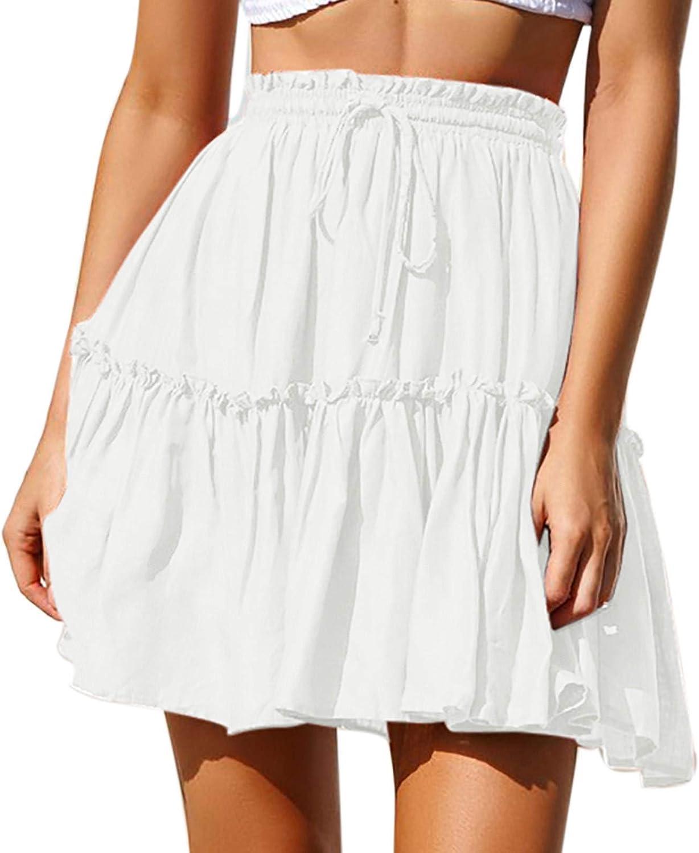 Gwewei4df Womens Summer Ranking TOP3 Casual Fashion A-Lin Ruffles trend rank Skirt Print