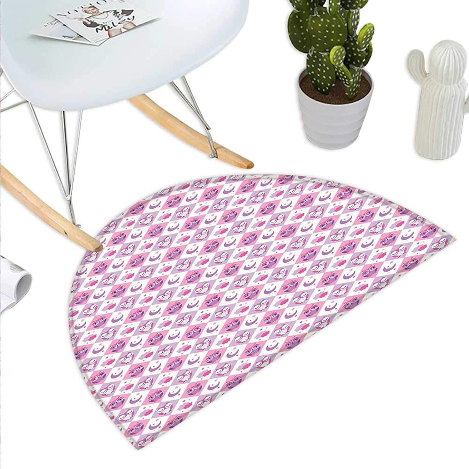Baby Semicircle Doormat Rectangle Diamond Pattern with Funny Owls Sleeping Moons Stars and Clouds Abstract Halfmoon doormats H 43.3  xD 64.9  Purple Pink