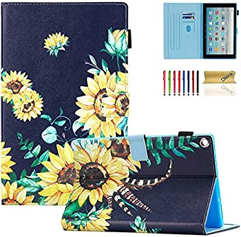 Dteck Case for Fire HD 10  9th/7th/5th Generation 2019/2017/2015 Release  - Premium Leather Folio Stand Smart Cover with Auto Wake/Sleep for All-New Amazon Kindle Fire HD 10.1 inch Tablet Sunflowers