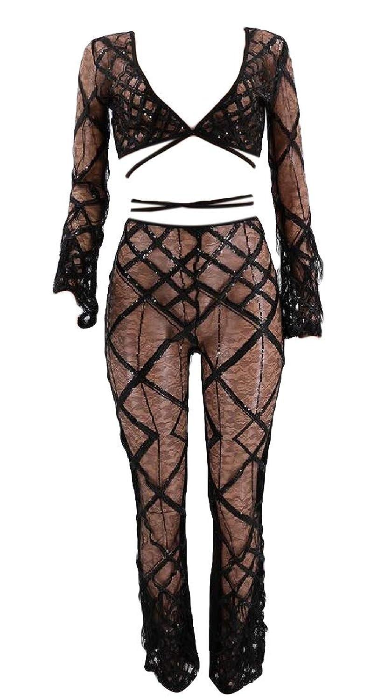 スクリーチ受粉者ハンマー女性セクシーメッシュは、2ピース長袖クロップトップロングパンツセット衣装を通して参照してください