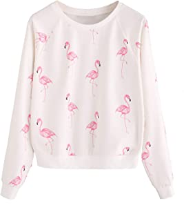 Women's Raglan Sleeve Sweatshirt Flamingo Print Lightweight Pullovers