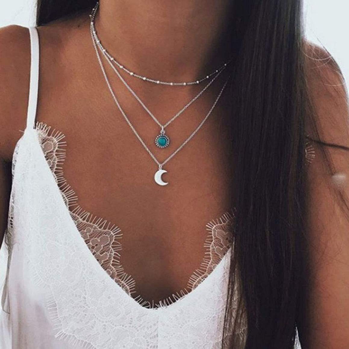 CanB Pendant Layered Necklaces Moon Turquoise Bohemia Chain Jewelry Necklace for Women and Girls (Silver)