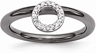 Black Plated Sterling Silver Diamond 4.4mm Halo Stackable Ring (.08 Ctw, I3 Clarity, H-I Color)