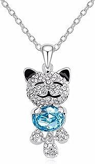 Cute Lucky Cat Swarovski Crystal Pendant Necklace - Best...