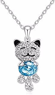 Caperci Cute Lucky Cat Swarovski Crystal Pendant Necklace for Women and Girls