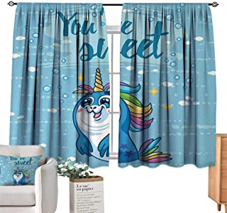 RuppertTextile Customized Curtains Unicorn,Youre Sweet Quote with Baby Penguin Shaped Unicorn and Fish in The Sea Art Image Decor,Blue Suitable for Bedroom Living Room Study, etc.72 Wx45 L