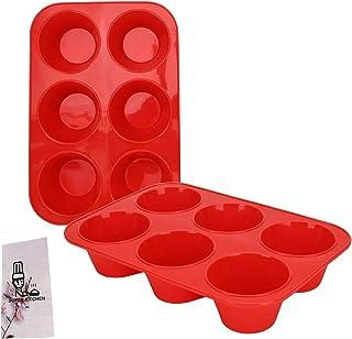 SUPER KITCHEN Lot de 2 Grand Moule à Muffins 6 Moules en Silicone Plaque à Muffins Anti-adhésif Moule à Pâtisserie pour Mu...