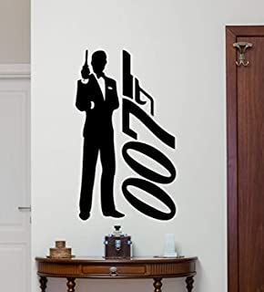 James Bond Logo Wall Decal Agent 007 Logo Vinyl Sticker Spy Movie Wall Art Design Housewares Kids Room Bedroom Decor Removable Wall Mural 78RT