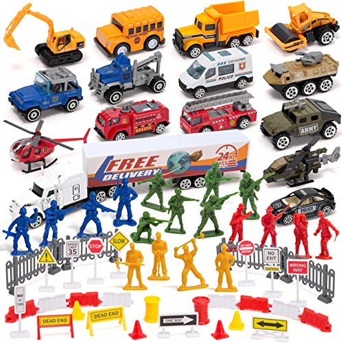 15 PCs Essential Worker City Hero Diecast Car Vehicle Toy Set in 4 Themes Construction Trucks, School Bus, Fire Rescue, Military, Police Car Die-cast Car Truck Toy with Various Road Sign and Figures