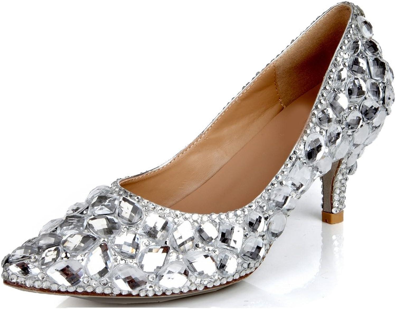 Lacitena Ladies Crystal Pointed Toe High Heels, Bride Wedding High Heels