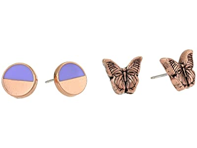 Alex and Ani Color Infusion Studs Earrings, Set of 2 (Rose Gold/Butterfly) Earring