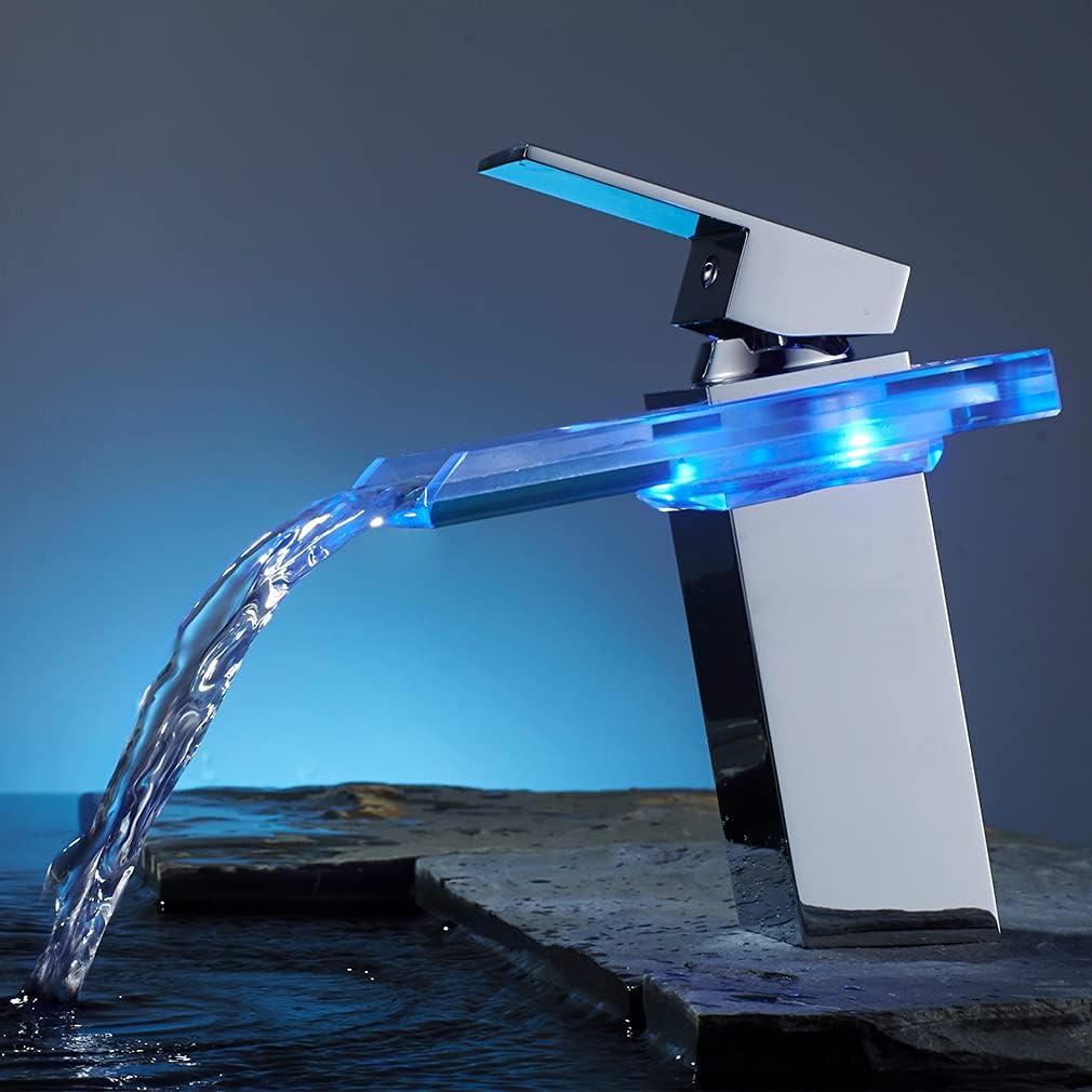 BONADE Grifo de Lavabo Cascada con LED Grifo de Cuenca de Baño Grifería Lavabo Monomando Mezclador Agua Fría y Agua Caliente Grifo de Latón