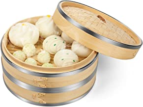Flexzion Bamboo Steamer Basket Set (8 inch) with Stainless Steel Banding 50x Steamer Liners and 2 Pairs of Chopsticks, Chinese Steamer for Cooking Food