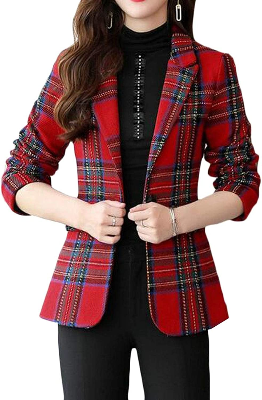 Jotebriyo Women One Button Plaid Check Formal Slim Fit Work OL Blazer Jacket Suit Coat