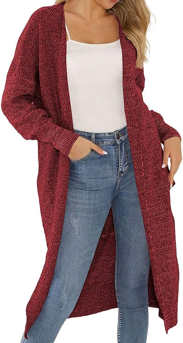 Grlasen Women Fashion Autumn Winter Solid Knitting Sweater Cardigan Open Front Knitwear Outerwear Coat