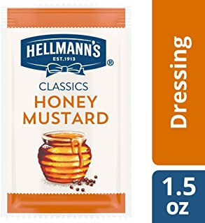 Hellmann's Classics Honey Mustard Salad Dressing Portion Control Sachets Gluten Free, No Artificial Flavors or High Fructose Corn Syrup, Colors from Natural Sources, 1.5 oz, Pack of 102