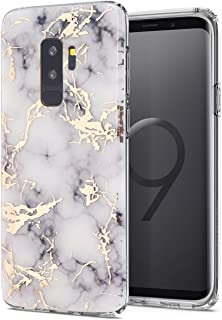 Galaxy S9 Plus Case,Spevert Marble Pattern Hybrid Hard Back Soft TPU Raised Edge Ultra-Thin Shock Absorption Slim Protective Case Compatible Samsung Galaxy S9 Plus/S9+(2018 Released) - White