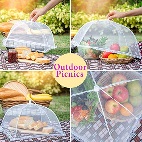 Mesh Food Cover 6 Pack Mixed Size Pop-Up Mesh Food Covers Tent Umbrella for Outdoors, Screen Tents, Parties Picnics, BBQs, Camping, Reusable and Collapsible Food Cover Nets,White