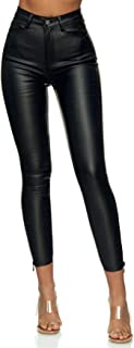 EGOMAXX Women Skinny Jeans Leather Optics Stretch Coated Sexy Strass Biker Look