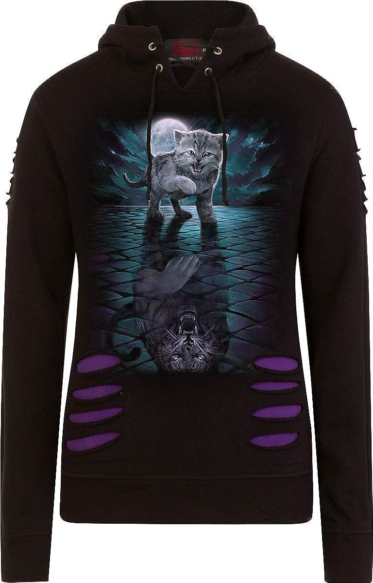 Spiral - Wild Side - Large Hood Ripped Hoody Purple-Black