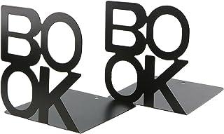 Organizador de libros de metal, diseño de cartas, color negro, para escritorio, oficina, decoración del hogar, regalo.