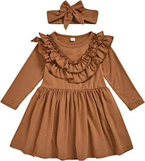 CM C&M WODRO Toddler Baby Girls Clothes Dresses Outfits Cute Ruffle Princess Party Tutu Bowknot Dress (Caramel Colour, 5-6...