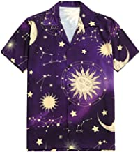 ZAFUL Men's Casual Sparkly Sun and Moon Print Short Sleeves Button Up Shirt