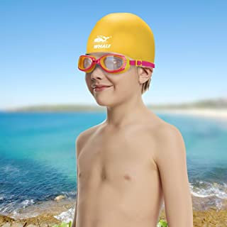 Whale Kids Swim Goggle and Cap Set Anti Fog UV Protection Swimming Goggles Swimmer Caps with Ear Plugs Nose Clip Toys Games Triathlon Equipment for Youth Teens Children Boys Girls Trainning Gear