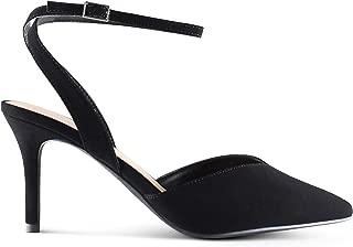 AFFORDABLE FOOTWEAR Women's Pointy Toe Low Platform High Heels Stiletto Dress Shoes