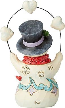 Enesco Jim Shore Heartwood Creek Snowman with Hearts Pint-Size Figurine, 5.625 Inch, Multicolor